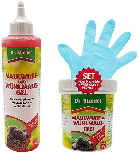 GREEN24 Profi-Set Anti Maulwurf - 2 Mittel gegen Maulwürfe, Maulwurf-Ex Maulwurfschreck Maulwurfabwehr Maulwurfbekämpfung Gift-Frei zur effektiven Vertreibung Anleitung