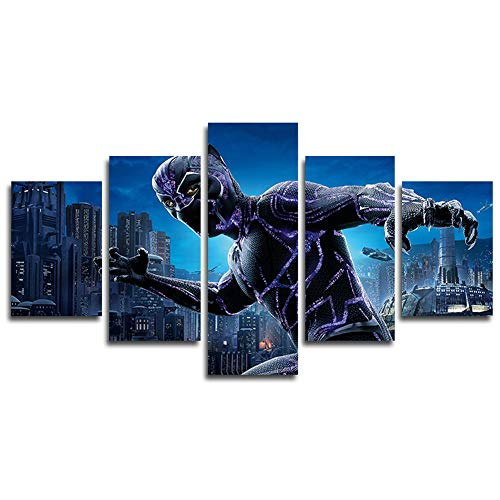 AtfArt 5 Piece Black Panther Canvas Painting for Living Room Home Decor Canvas Art
