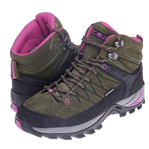 CMP Wanderschuhe Damen Outdoor Schuhe Trekkingsschuhe wasserdicht leicht und bequem mit Dicker Sohle in vielen Farben Ragel, Größe:36, Farbe:Olive-Hot Pink