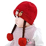 IMLECK Infant Baby Winter Hat Beanies Crochet Warm Knitted Wig Hat Red