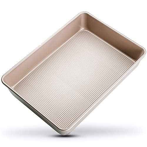 Nonstick Rectangle Cake Pan - 9x13 Baking Pan - Perfect Rectangular Cake Pan For Brownies, Cakes, Casseroles - Durable Warp-Resistant, Superior Baking Design - Food-Safe Nonstick Coating