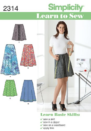 Simplicity Learn To Sew Mid To Long Size Women's Skirt Sewing Pattern, Sizes 6-18