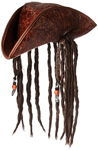 Jacobson Hat Company Men's Caribbean Pirate with Braids, Brown, One Size