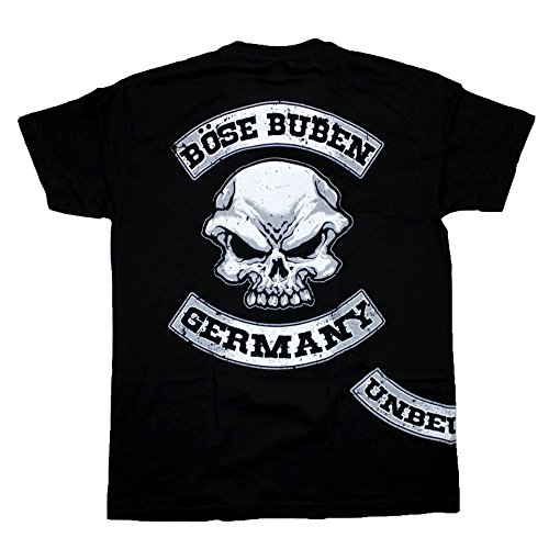 Böse Buben Club Patch Hooligan Biker Rocker Shirt Schwarz
