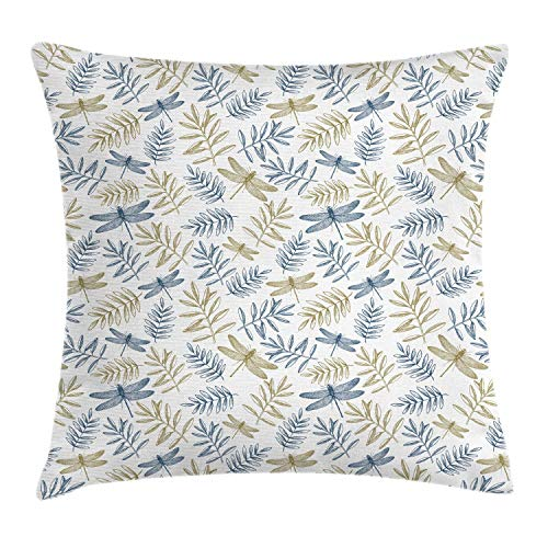 Alan Connie Dragonfly Pillow Cover,Autumn Foliage Leaves and Insects Mother Nature Retro Botany Design,45 X 45 CM