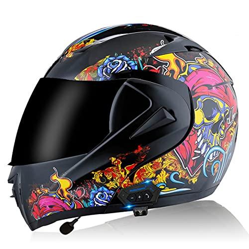 RENTOOR Casco Modular de la Moto de la Cara Completa Flip Up Casco Bluetooth de la Motocicleta Frontal Casco de Cuatro Temporadas con Doble Sol Solar para la Calle Bike Racing Motocross Oksmsa