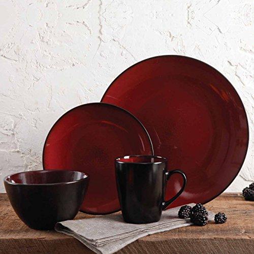 Gibson Elite Soho Lounge Round Reactive Glaze Stoneware Dinnerware Set, Service for Four (16pcs), Red