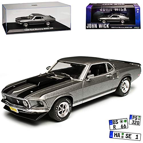 Greenlight Ford Mustang Boss 429 Coupe Grau John Wick Typ I 3. Generation 1969-1970 1/43 Modell Auto