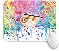 Mabby マウスマット ゲーミング オフィス マウス パッド,sloth watercolor,Non-Slip Rubber Base Mousepad for Laptop Computer PC Office,Cute Design Desk Accessories
