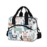 llama Lunch Bag for Women Men Insulated Lunch Box Tote Bag with Shoulder Strap Reusable Thermal Cooler Bag Lunch Organizer for Working Picnic Beach School