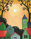 8x10 inch PRINT OF PANTING RYTA ABSTRACT FOLK ART landscape MEXICAN STYLE INTERIOR HOME HOUSE DESIGN DECOR DECORATION FINE WALL ART