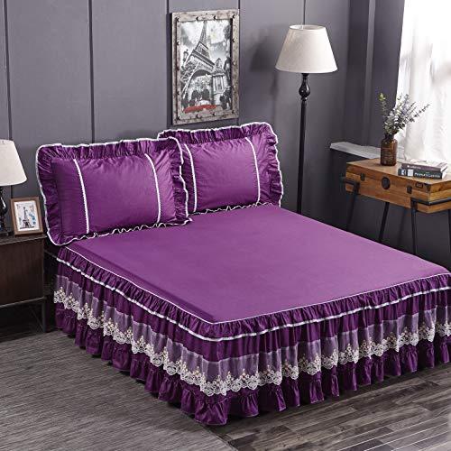 Softta Korean Princess Violet King Size 3Pcs Vintage Decoration Bed Skirt Baroque Boho White Lace Ruffled Rounded Hem Patchwork 100% Cotton 18 Inches Drop Deep Hem(45cm) Romantic Purple