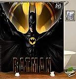 Batman Duschvorhang, Polyester, wasserdicht, 12 Haken, Badezimmerzubehör, 182,9 x 182,9 cm