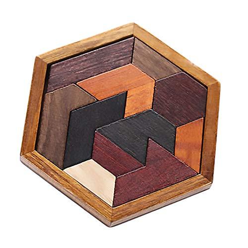 XYW Rompecabezas - Colorido Hexagonal de Madera Forma geométrica Puzzle Junta Bloque de construcción Juguetes educativos Juguetes for niños