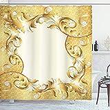 ABAKUHAUS Pearls Duschvorhang, Goldene Blumenverzierung, Set inkl.12 Haken aus Stoff Wasserdicht Bakterie & Schimmel Abweichent, 175 x 200 cm, Creme Gelb