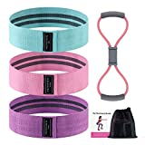 DomKom Exercise Upgrade Resistance Bands for Butt and Legs,Fabric Anti-Slip & Roll Workout Bands,Exercise Loops for Women Glute Thigh Training with Figure 8 Exercise Cord for Upper Body Exercise