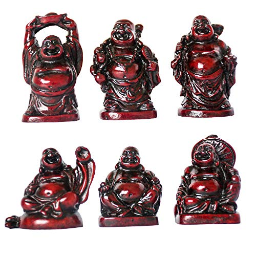 ADDUNE Set of 6 Laughing Happy Buddha Statue Resin Figurines Feng Shui for Luck Wealth Good Gift and Collection (Dark Red, 2'')