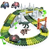 Dinosaur Toys,156pcs Create A Dinosaur World Road Race,Flexible Track Playset and 2 pcs Cool Dinosaur car for 3 4 5 6...
