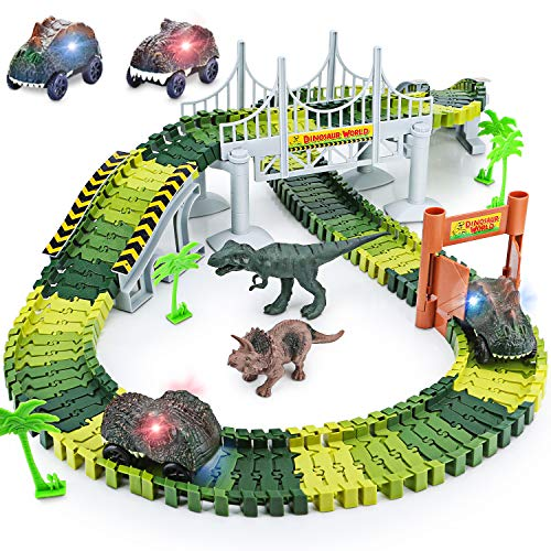 Dinosaur Toys,156pcs Create A Dinosaur World Road Race,Flexible Track Playset and 2 pcs Cool Dinosaur car for 3 4 5 6 Year & Up Old boy Girls Best Gift