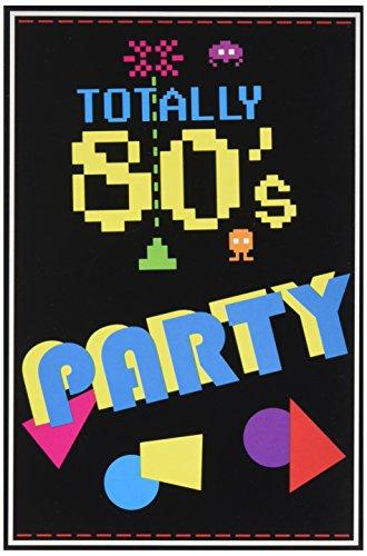 Beistle 80er-Jahre-Einladungen, 8-teilig, 8-teiliges Set, Party-Zubehör, 10,2 x 14 cm, mehrfarbig