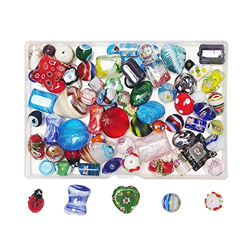 Chenkou Craft 50PCS Assorted Mix Glass Beads for Jewelry Making Adults, Big and Small Bulk for Crafts Lampwork Murano Bead Bracelets and Necklaces Crafting Supplies +1pc Plastic Box (Mix, Mix)