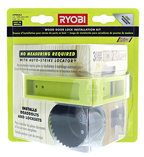 Ryobi A99DLK3 3-Step Wood Door Lock Installation Kit with Auto-Strike Locator for Deadbolts and Locksets