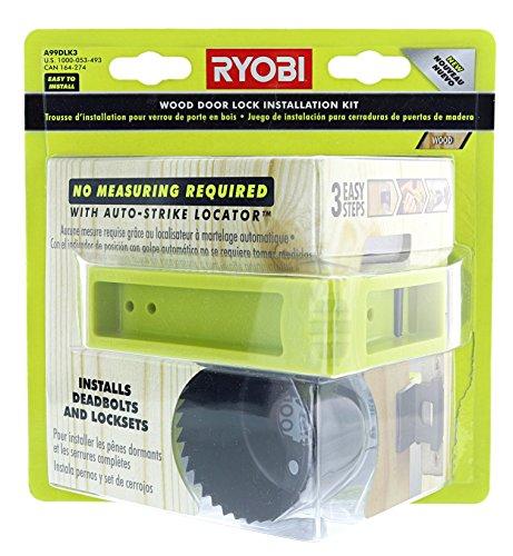 Ryobi A99DLK3 3-Step Wood Door Lock Installation Kit with Auto-Strike Locator for Deadbolts and Locksets