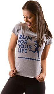T-shirt Camiseta Feminina Baby Look Algodão - Run for Your Life