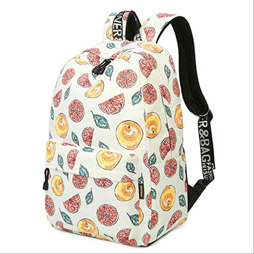 Schooltas casual reis-waterdichte beige fruitcitroenprint rugzak vrouwen grote capaciteit dame 14-15,6 inch laptop bookbag female