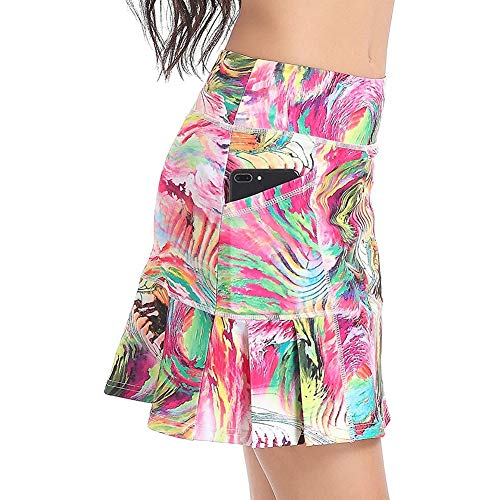 Women's Sports Skirt, Skort, Running Skort Ladies Sportskort Sports Skirt with Tennis Skirt Pants Culottes Golf Pants Skirt/Skort x (Color : Pink, Size : M)