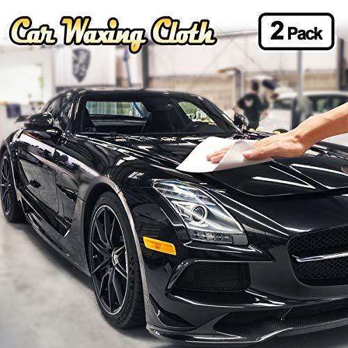 Bamoer Autowachs Microfasertuch Autopflege, 2 Stück Auto Wachstücher Set Poliertücher Putztücher für Wachsen Lackpflege Versiegelung Hochglanz Fusselfrei