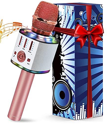 Micrófono Karaoke Inalámbrico, Micrófono Karaoke Bluetooth Portátil con Luces Altavoz y LED para Niños Canta Partido Musica, 5 en 1 Micro Karaoke Infantil Compatible con Android iOS Teléfono, PC