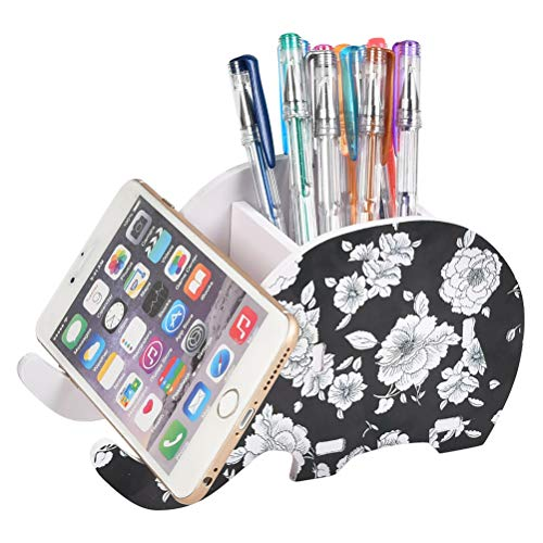 FOCCTS Pencil Holder with Phone Holder Desk Organizer Elephant Pencil Holder Multifunctional Office Accessories Desk Decoration with Cell Phone Stand Tablet Desk BracketWhite Rose