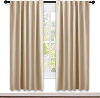 NICETOWN Window Treatment Blackout Window Blinds - (Biscotti Beige Color) 52x72 Inch, 1 Pair, Back Tab/Rod Pocket Blackout Draperies for Bedroom