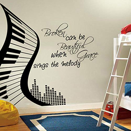 Axlgw Singing Melody Wall Sticker Music Piano Inspirational Quote Wall Sticker Vinyl, Modern Piano Broken Can Become Beautiful.