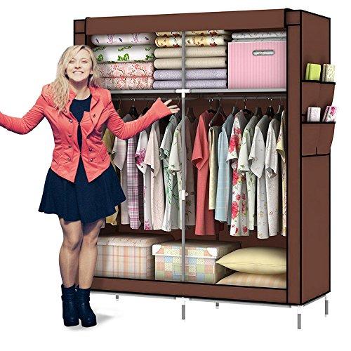 Amanda Home 10140H Portable Clothes Closet Wardrobe Fabric Clothes Storage Organizer (Size - 69 x 43 x 18in) (Coffee.)