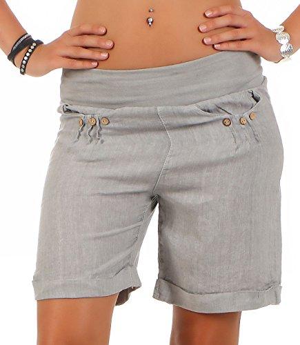 Malito Damen Bermuda aus Leinen | lässige Kurze Hose | Shorts für den Strand | Pants - Hotpants 6822 (hellgrau, L)
