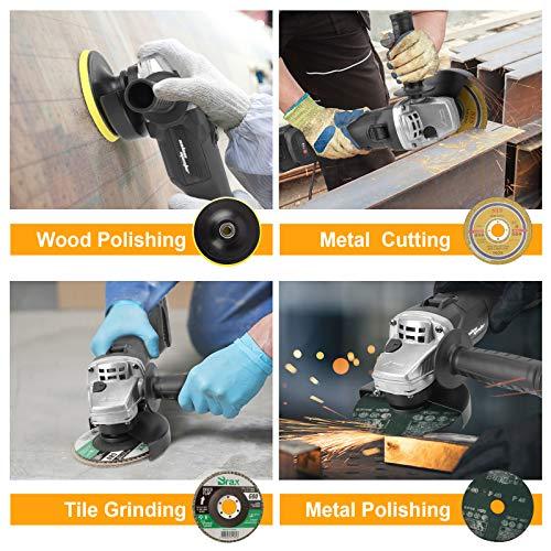 SALEM MASTER Cordless Angle Grinder, 4 1/2 Inch,8000RPM, 20V/3Ah Li-Battery & Fast Charger, Brushless Metal Cut Off Tool/Polish Tool , 2-Position Adjustable Handle Grinder Tool for Wood,Metal