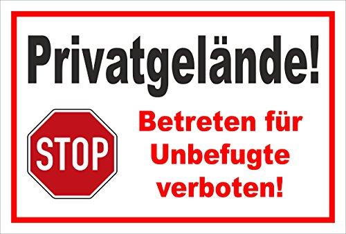 Stickers teken - Stop - Hout - Privy terrein - Betreten voor onbevoegden verboden - S00357-016-B +++ in 20 varianten verkrijgbaar