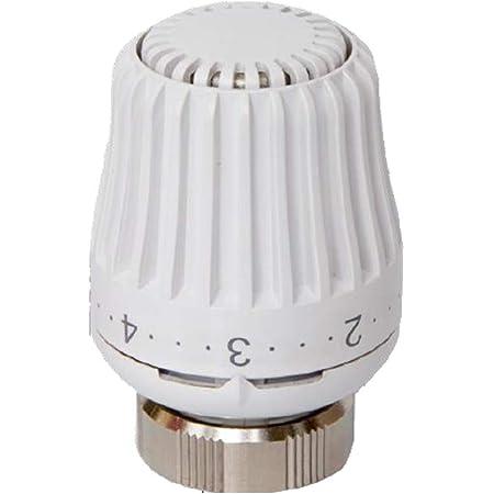 Válvulas para radiadores – Válvula termostática cabeza termostática con sensor integrado para radiadores con conexiones M30 x 1,5, carrera de cierre 11,8 – 12, color blanco