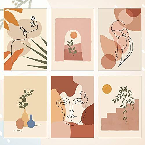 RMENOOR 6 Pcs Affiche d'art de ligne abstraite Impressions d'art mural minimaliste Déco de chambre esthétique moderne Affiches dessin visage femme pour déco bureau chambre (11.8 'x8.27', sans cadre)
