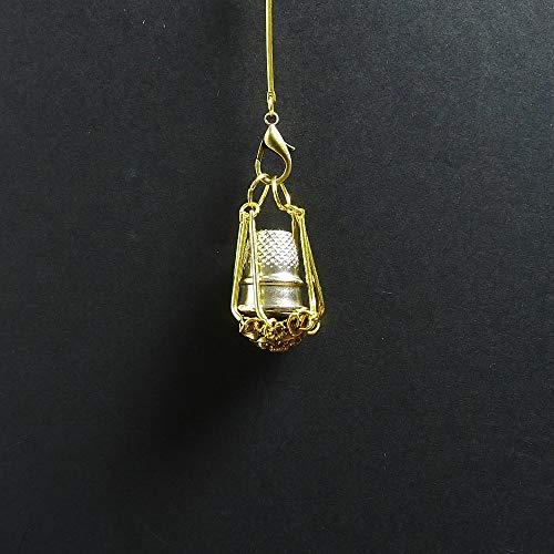 Goldener Fingerhutkäfig/Fingerhuthalter/Nähringkäfig