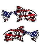 Premium American Flag Bone Fish Sticker. Best USA Decal Vinyl for Your Car Window Or Bumper, Hard...