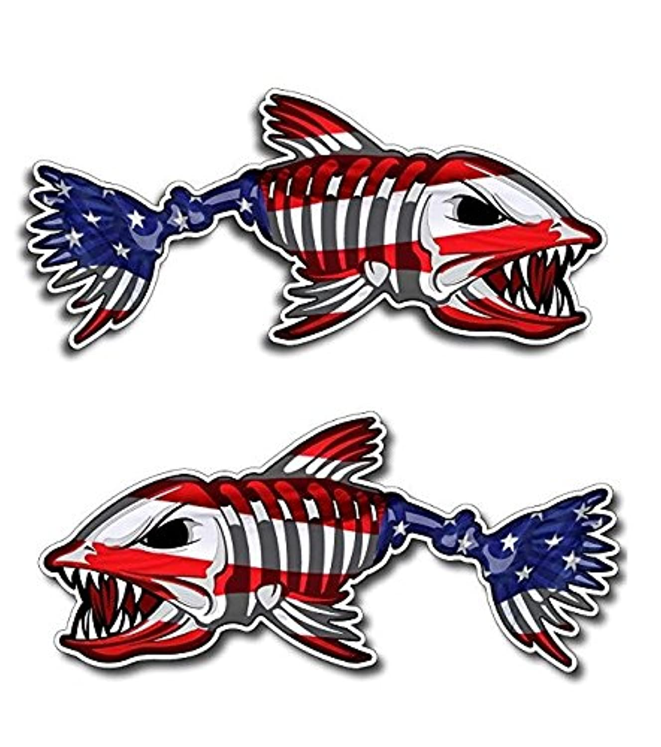 Premium American Flag Bone Fish Sticker. Best USA Decal Vinyl for Your Car Window Or Bumper, Hard Hat, Fishing Toolbox. Decor for Shops, Cafe, Laptop Or Even Kayak Or Boat. Size 2.1 inch x 5 inch