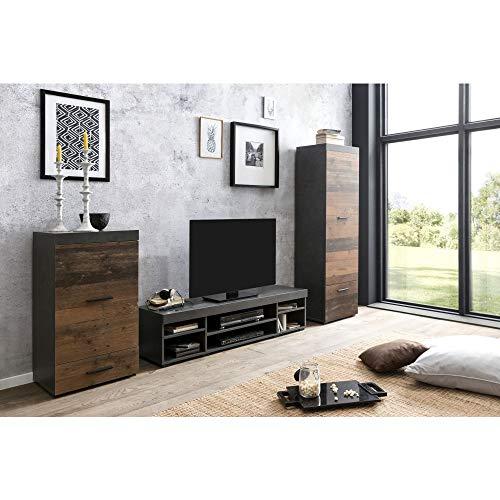 Roomindo - Mueble de pared para salón (3 piezas, madera envejecida), color gris