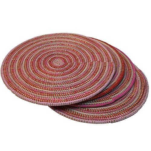 EA Déco Naturel & Design 4 Sets de Table Pindé, Plastique, Tricolore Fuchsia, 40x40x1 cm