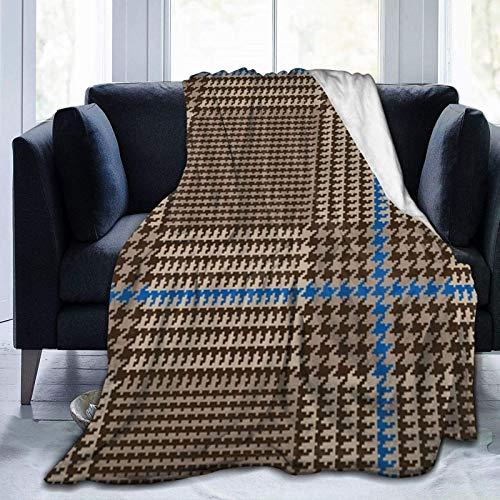 Brown Glen - Coperta in micro pile, ultra morbida, per tutte le stagioni, per biancheria da letto, divano e viaggi, 150 x 100 cm