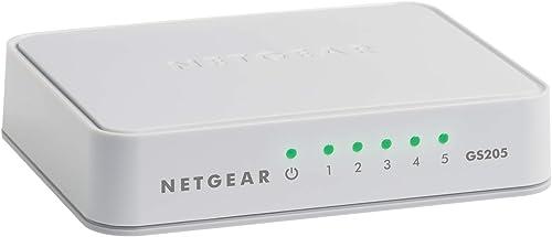 NETGEAR ProSafe 5-Port Gigabit Unmanaged Switch (GS205-100AUS),White
