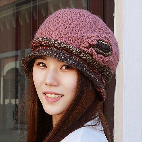 YANGFEIFEI-MZ De vriendin vriend Vrouwen winter cap verdikte breien hoed haak bloempot cap oudere moeder winter fashion cap voor hoofd omtrek elastische 54-60cm
