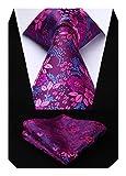 HISDERN Extra largo Floral Paisley lazo del panuelo Hombres Corbata & Plaza de bolsillo Conjunto Rosado azul